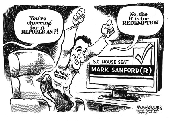 Jimmy Margulies - The Record of Hackensack, NJ - Mark Sanford and Anthony Weiner - English - Mark Sanford, Anthony Weiner, political sex scandals, political comebacks