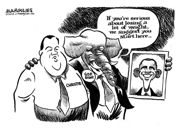 Jimmy Margulies - The Record of Hackensack, NJ - Obama and Christie  - English - Obama, Christie, Obama and Christie, Jersey Shore, Superstorm Sandy, Federal Disaster relief, Bipartisanship, Republican party, 2016 presidential campaign