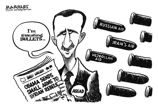 Jimmy Margulies - The Record of Hackensack, NJ - Obama aids Syrian rebels  - English - Syria, Assad, Syrian rebels, Obama aids Syrian rebels, Russian aid to Assad, Iranian aid to Assad, Hezbollah aid to Assad, Mideast