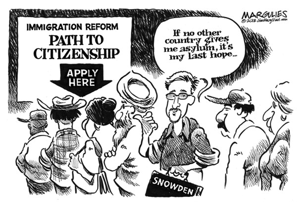 Jimmy Margulies - The Record of Hackensack, NJ - Snowden asylum - English - Snowden asylum, Edward Snowden, NSA leaker, Immigration reform, path to citizenship