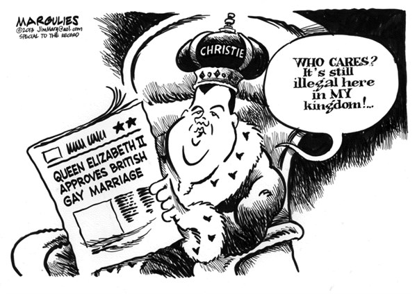 Jimmy Margulies - The Record of Hackensack, NJ - Christie and gay marriage - English - Gay marriage, Same Sex marriage, Chris Christie, Queen Elizabeth, British OK Gay Marriage