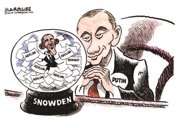 Putin and Obama and Snowden © Jimmy Margulies,The Record of Hackensack, NJ,Edward Snowden, Snowden Asylum, Putin and Snowden asylum, Snowden asylum in Russia, Obama and Snowden, NSA leaker