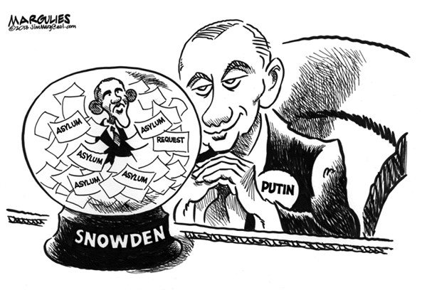 Jimmy Margulies - The Record of Hackensack, NJ - Putin and Obama and Snowden - English - Putin and Snowden asylum, Edward Snowden, Snowden asylum, NSA leaker, Snowden and Russia asylum
