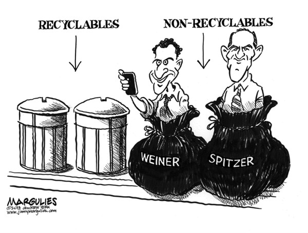 Jimmy Margulies - The Record of Hackensack, NJ - Weiner and Spitzer lose  - English - Anthony Weiner, Eliot Spitzer, political sex scandals, political comebacks, New York City politics