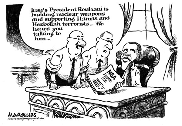 Jimmy Margulies - The Record of Hackensack, NJ - Obama and Rouhani phone call  - English - Obama and Rouhani phone call, US-Iran relations, Iran, President Rouhani, President Obama, NSA domestic spying
