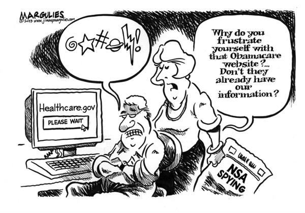 Jimmy Margulies - The Record of Hackensack, NJ - Obamcare website trouble  - English - Obamacare, Obamacare website, Obamacare Exchanges, NSA spying