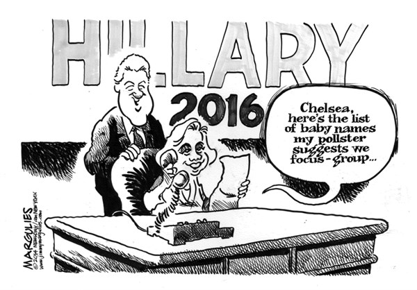 Jimmy Margulies - Politicalcartoons.com - Chelsea Clinton pregnant - English - Chelsea Clinton pregnant, Chelsea Clinton, Hillary Clinton, Bill Clinton, Hillary for president 2016, 2016 presidential race