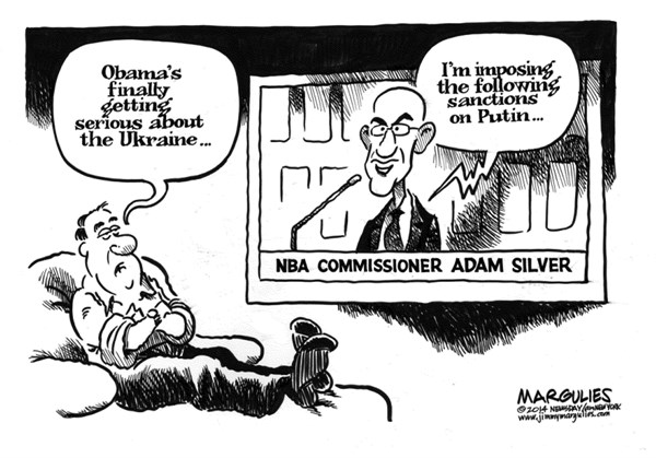 Jimmy Margulies - Politicalcartoons.com - Sanction on Putin - English - Sanctions on Putin, Ukraine, Crimea, Adam Silver, NBA Commissioner Adam Silver, Obama, Obama Foreign Policy, Russia, Putin, Donald Sterling, LA Clippers