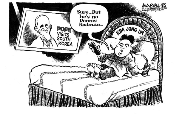 Jimmy Margulies - Politicalcartoons.com - Pope visits South Korea - English - Pope Francis, South Korea, North Korea, Kim Jong Un, Dennis Rodman