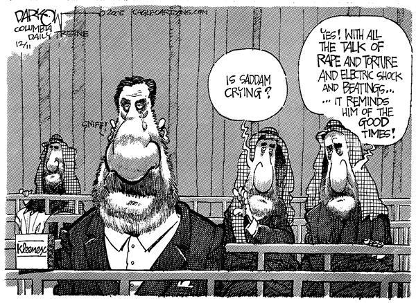 John Darkow - Columbia Daily Tribune, Missouri - Saddam the Softy - English - Saddam torture trial crying Iraq