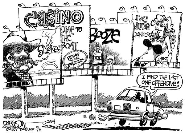 John Darkow - Columbia Daily Tribune, Missouri - Bill Bored - English - Billboards sex industry offensive