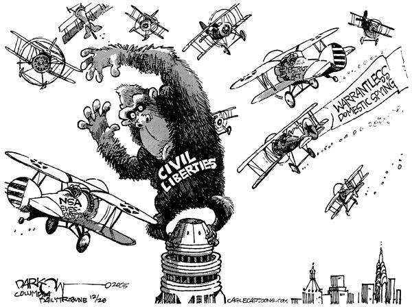 John Darkow - Columbia Daily Tribune, Missouri - Going Ape Over Big Brother - English - Big Brother Government Kong spying NSA Civil Liberties