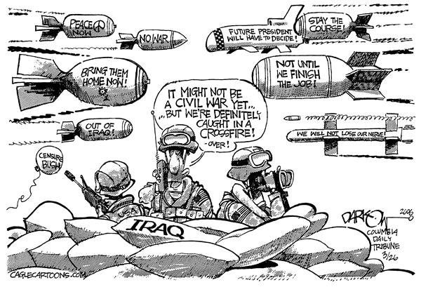 John Darkow - Columbia Daily Tribune, Missouri - United We Stand - English - War Troops Iraq Civil War Peace