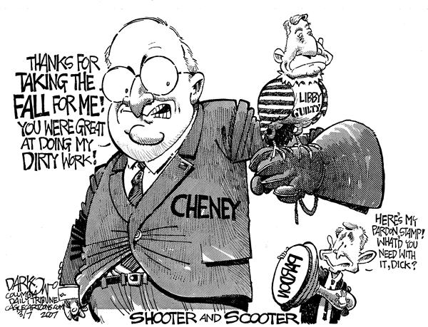 John Darkow - Columbia Daily Tribune, Missouri - Taking One For The Team - English - Dick Cheney pardon bush scooter libby shooter guilty charges