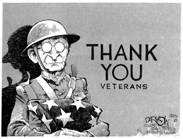 John Darkow - Columbia Daily Tribune, Missouri - Old Soldiers Never Die - English - Veterans Day, soldier, military, thank you, thanks, flag, service, memorial day, army, navy, air force