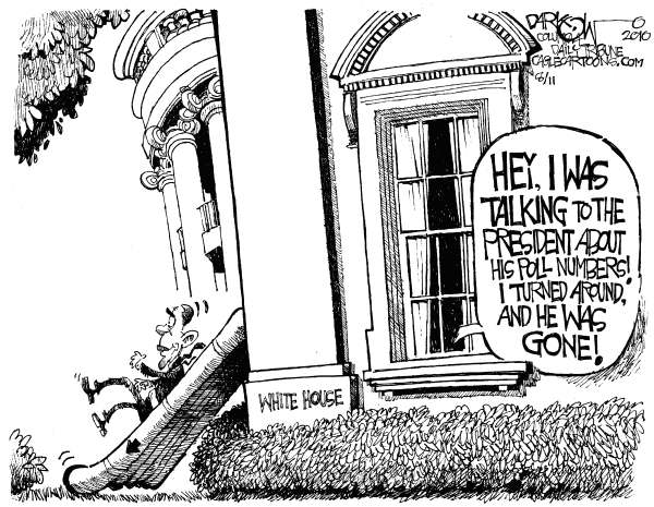 John Darkow - Columbia Daily Tribune, Missouri - Obamas Outta Here - English - President Obama, poll numbers, White House