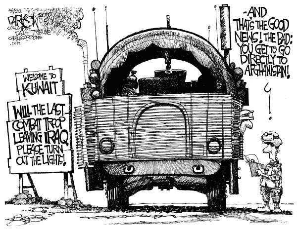 John Darkow - Columbia Daily Tribune, Missouri - Iraq In Our Rearview Mirror - English - War in Iraq, US Troops  Leave Iraq