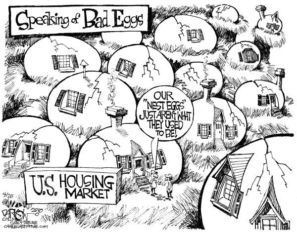 John Darkow - Columbia Daily Tribune, Missouri - Bad Nest Eggs - English - US Housing Market, nest egg, retirement, recession, real estate
