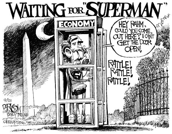 John Darkow - Columbia Daily Tribune, Missouri - Waiting For Superman - English - Barack Obama, The Economy