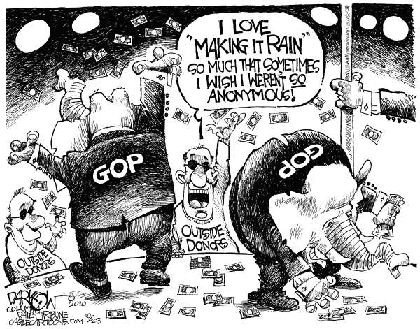 John Darkow - Columbia Daily Tribune, Missouri - Mothers Milk Of Politics - English - GOP, Democrats, Anonymous Campaign Donations