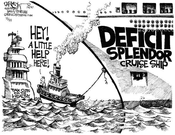 John Darkow - Columbia Daily Tribune, Missouri - Bush Error Tax Cuts - English - US Deficit, Tax Cuts, George Bush, Cruise Ship Fire