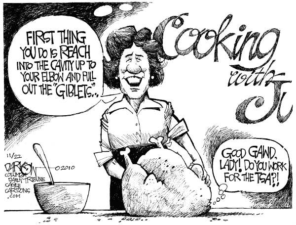 John Darkow - Columbia Daily Tribune, Missouri - Thanksgiving With The TSA - English - Transportation Security Administration, Thanksgiving, airport, scanners, body searches, privacy, cooking with Julia Childs, transportation, flying, airplanes, terrorists, bombs
