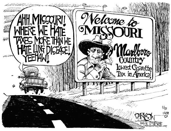 John Darkow - Columbia Daily Tribune, Missouri - Local Cigarette Taxes - English - Missouri, cigarette tax, Marlboro, lung disease