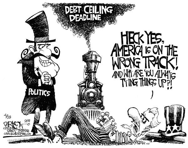 John Darkow - Columbia Daily Tribune, Missouri - America On The Wrong Track - English - Budget Deficit, National Debt Ceiling