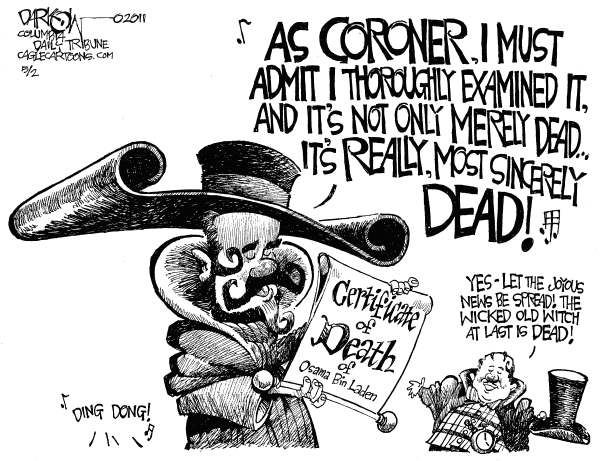 John Darkow - Columbia Daily Tribune, Missouri - Ding Dong the Witch is Dead - English - Osama Bin Laden, killed, certificate of death, President Obama, leader of al Qaeda