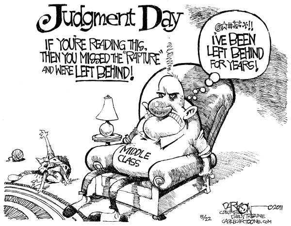 Middle Class Left Behind © John Darkow,Columbia Daily Tribune, Missouri,Rapture, Middle Class, Judgement Day