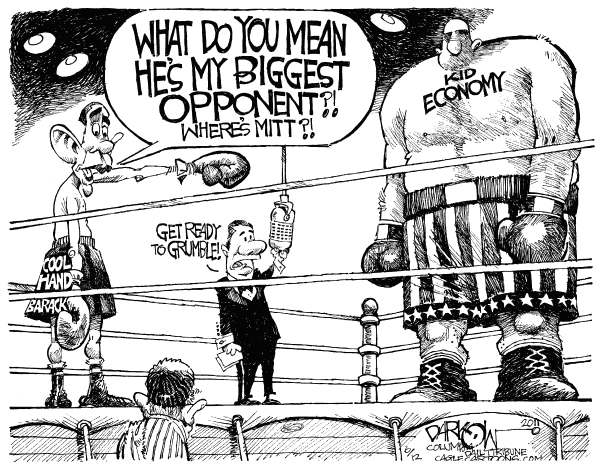 Baracks Challenger © John Darkow,Columbia Daily Tribune, Missouri,Barack Obama, US Economy, 2012 election, voters, jobs, employment