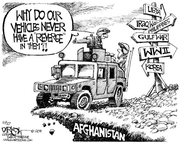 Our Military Never Leaves © John Darkow,Columbia Daily Tribune, Missouri,Military, War, Iraq, Gulf War, Vehicles, Reverse, Fighting, Overseas, Afghanistan, Troops, Libya, Philippines