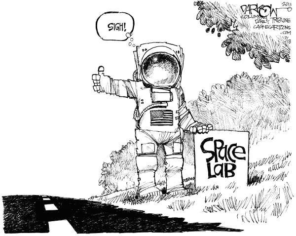 John Darkow - Columbia Daily Tribune, Missouri - US Space Program - English - Space Lab, Astronaut, Shuttle, Earth, US, Space Program