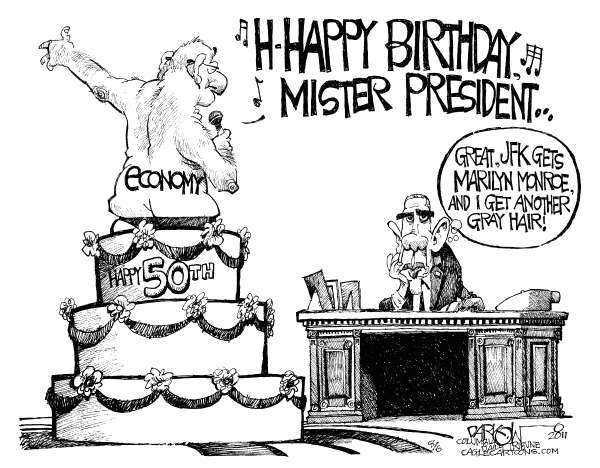 John Darkow - Columbia Daily Tribune, Missouri - Happy Economy Mister President - English - Birthday, President Obama, Happy, Economy, Marilyn Monroe, Gray Hair, Cake, Singing, JFK