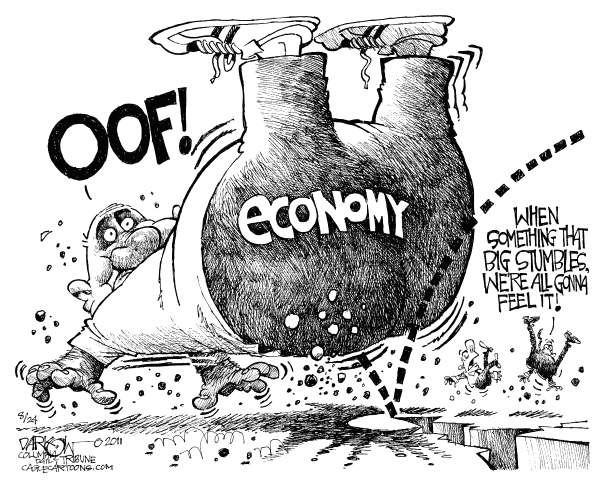 The Economy Stumbles © John Darkow,Columbia Daily Tribune, Missouri,Economy, Stumbles, Off, Big, Government, Fall, Feel It, earthquake