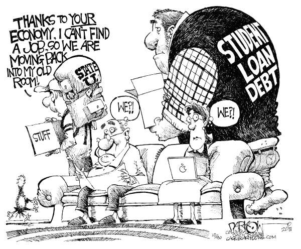 John Darkow - Columbia Daily Tribune, Missouri - Student Loan Debt - English - Student, Loans, Debt, Moving, Economy, Job, Stuff, Family, Room, education, school, college, employment