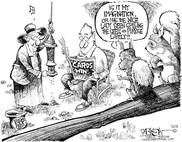 John Darkow - Columbia Daily Tribune, Missouri - Cardinals Rally Squirrels - English - Cardinals, World Series, Squirrels, Rally, Championship, Baseball