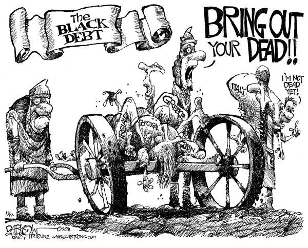 John Darkow - Columbia Daily Tribune, Missouri - Euro Debt - English - Euro, Debt, Black, Europe, economy, crisis