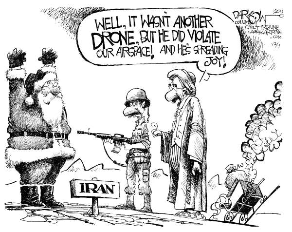 John Darkow - Columbia Daily Tribune, Missouri - Iran Snags Another - English - Iran, Iraq, Military, Santa, Police, Sleigh, Hold Up, Drone, Airspace, Joy, Holiday, Christmas, Desert
