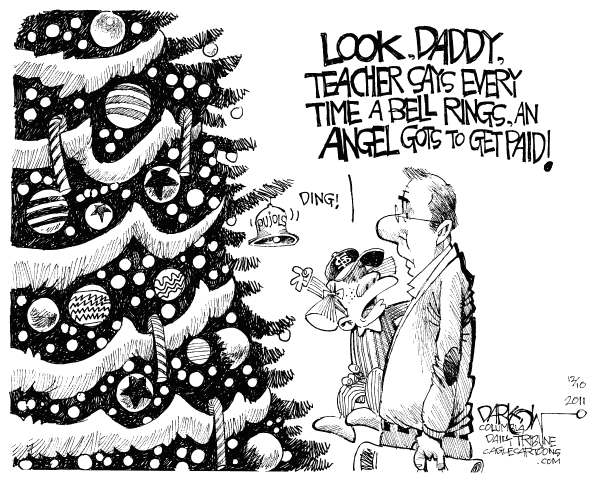 John Darkow - Columbia Daily Tribune, Missouri - Pujols Gets Paid - English - Christmas, Tree, Bell, Ring, Ding, Daddy, Teachers, Angel, Paid, education