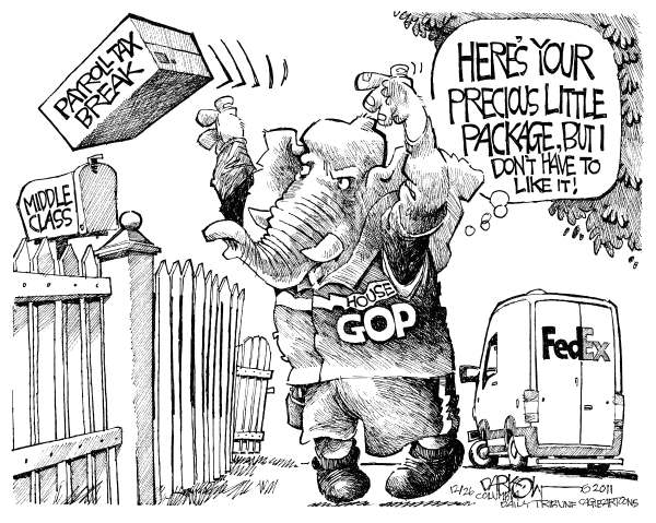 John Darkow - Columbia Daily Tribune, Missouri - Payroll Holiday FedEx Delivery - English - FedEx, Delivery, Payroll, Holiday, House, GOP, Precious, Package, Tax Break, Middle Class, Mail, Delivery
