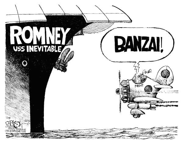 John Darkow - Columbia Daily Tribune, Missouri - Kamikaze Newt - English - Romney, USS, Inevitable, Banzai, Ship, Plane, Ocean, Fly, Newt Gingrich, candidates, 2012 election, campaigns