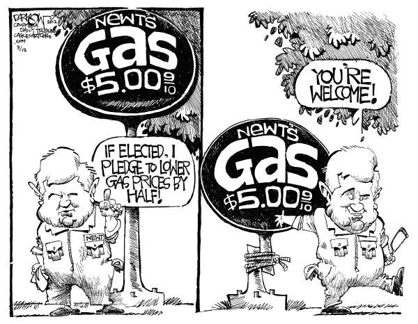Newt Lowers Gas Prices © John Darkow,Columbia Daily Tribune, Missouri,Gas, Prices, Newt Gingrich, Pump, Cut, Politics, 2012, Election, Rope, Tree
