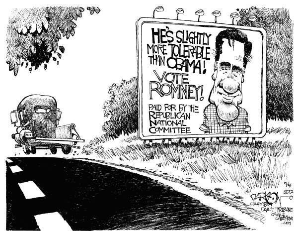 John Darkow - Columbia Daily Tribune, Missouri - Lukewarm Endorsemitts - English - Tolerable, Obama, President, Slightly, Vote, Mitt, Romney, Republican, Committee, Road, Lukewarm, Candidate