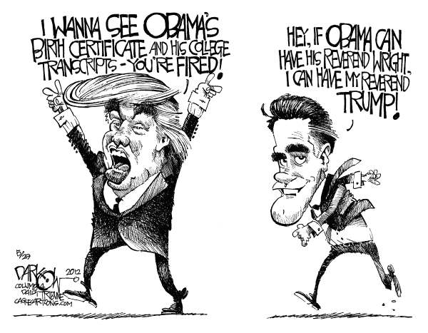 John Darkow - Columbia Daily Tribune, Missouri - The Mitt Palling Around With the Donald - English - Pal, Donald Trump, Mitt Romney, Reverend Wright, Obama, Birth Certificate, Fired, Transcripts, College, Presidential Campaign