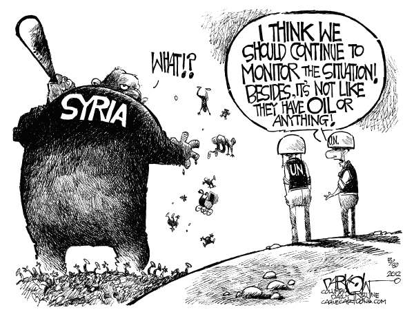 John Darkow - Columbia Daily Tribune, Missouri - Syria Killer - English - Syria, Killer, Situation, Monitor, Oil, UN, United Nations
