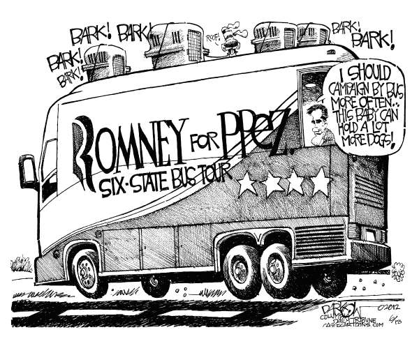 John Darkow - Columbia Daily Tribune, Missouri - Dogs on the Bus - English - Romney, President, Campaign, Dogs, Stars, Bark, Road, Wheels, Tour, State