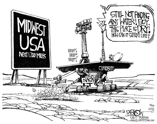 John Darkow - Columbia Daily Tribune, Missouri - Drought in the USA - English - Water, drought, farmers, crops, help, Government, relief, environment, food, export, feed, health, economy, weather, rain, dry
