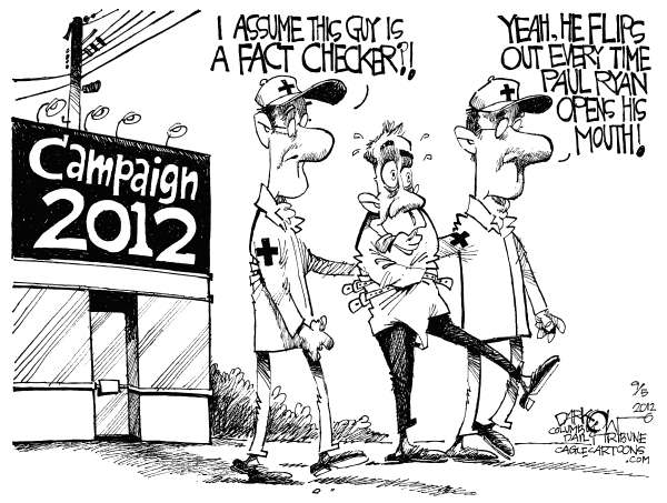 John Darkow - Columbia Daily Tribune, Missouri - Fact-Checking Paul Ryan - English - Fact, Check, Paul Ryan, Open, Mouth, Flips, Out, Assume, Campaign, 2012, Medic