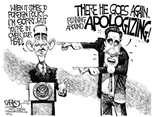John Darkow - Columbia Daily Tribune, Missouri - A Sorry Foreign Policy - English - Apologize, Foreign, Policy, Sorry, President, Election, 2012, Obama, Mitt Romney, Podium, Head, Run